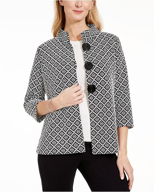 JM Collection Jacquard Stand-Collar Jacket, Created for Macy's