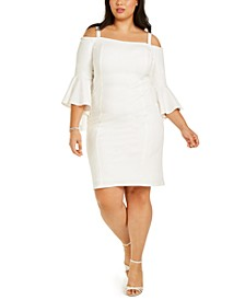 Plus Size Off-Shoulder Bell-Sleeve Dress