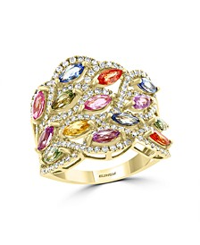 EFFY®  Multi Sapphire (2 3/4 ct.t.w.) and Diamond (3/4 ct.t.w.) Ring in 14K Yellow Gold