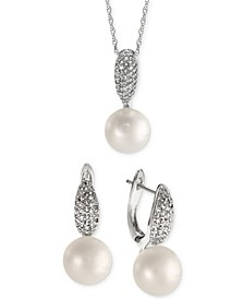 2-Pc. Set Cultured Freshwater Pearl (9mm) & White Topaz (1-1/2 ct. t.w.) Pendant Necklace & Drop Earrings Set in Sterling Silver