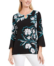 Printed Bell-Sleeve Keyhole Top, Created for Macy's