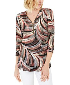 Zip-Neck Textured Tunic, Created For Macy's