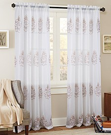 "Bergen Floral Embroidered 54"" x 84"" Curtain Panel"