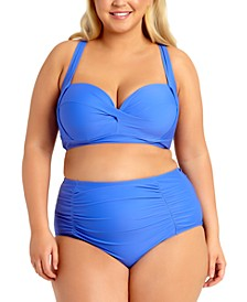 Trendy Plus Size Solid Underwire Bikini Top & High-Waist Bikini Bottoms, Created for Macy's