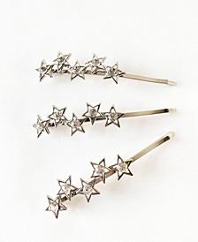 Silver-Tone Star Bobby Pin Three-Piece Set