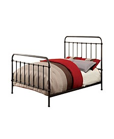 Metal Queen Size Platform Bed with Headboard & Footboard, Deep Bronze