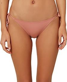 Juniors' Salt Water Solids Side-Tie Cheeky Bikini Bottoms