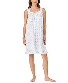 Lace-Trim Floral-Print Nightgown