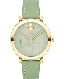 Women's Swiss BOLD Green Leather Strap Watch 34mm