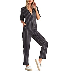 Juniors' Hit The Highway Striped Jumpsuit