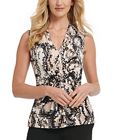Knot-Front Sleeveless Geometric Print Top