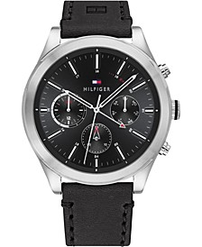 Men's Chronograph Black Leather Strap Watch 44mm, Created for Macy's
