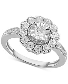 Diamond Flower Statement Ring (1/3 ct. t.w.) in Sterling Silver