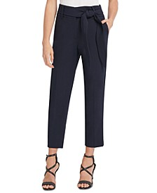High-Rise Tie-Front Pants