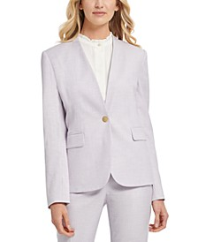 Petite Striped Collarless One-Button Blazer
