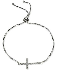 Cubic Zirconia East-West Cross Bolo Bracelet in Sterling Silver, Created for Macy's