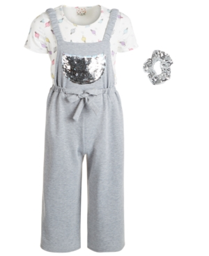 Belle Du Jour Big Girls 3-Pc. Top, Flip Sequin Jumpsuit & Sequin Scrunchie Set