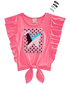 Big Girls 2-Pc. Flutter-Sleeve Top & Barrettes Set