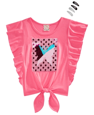 Belle Du Jour Big Girls 2-Pc. Flutter-Sleeve Top & Barrettes Set
