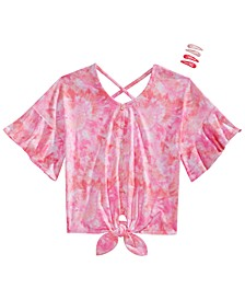 Big Girls 2-Pc. Tie-Dye Flounce Top & Barrettes Set
