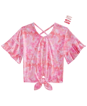 Belle Du Jour Big Girls 2-Pc. Tie-Dye Flounce Top & Barrettes Set