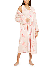 Charter Club Floral-Print Robe & Sleeveless Nightgown, Created for Macy's