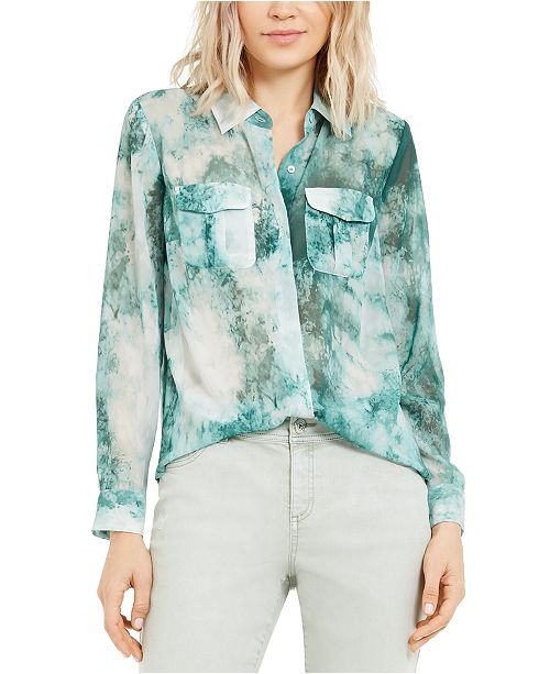 INC International Concepts INC Tie-Dye Button-Up Shirt, Created For Macy's