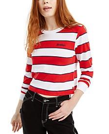 Striped Cropped Cotton T-Shirt