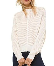 Dolman-Sleeve Ribbed Sweater