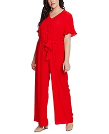 Plus Size Belted Ruffled-Cuff Jumpsuit