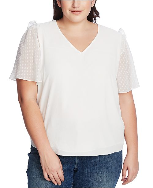 CeCe Plus Size Ruffled Dotted-Sleeve Top