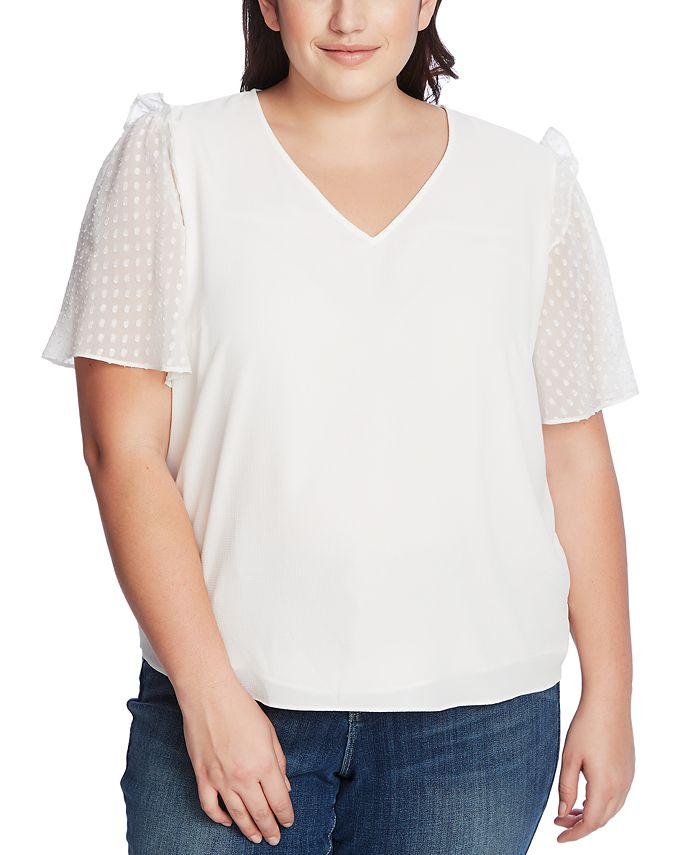 CeCe - Plus Size Ruffled Dotted-Sleeve Top