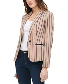 Striped Elbow Patch Blazer