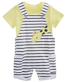 Baby Boys 2-Pc. T-Shirt & Giraffe Shortalls Set, Created for Macy's