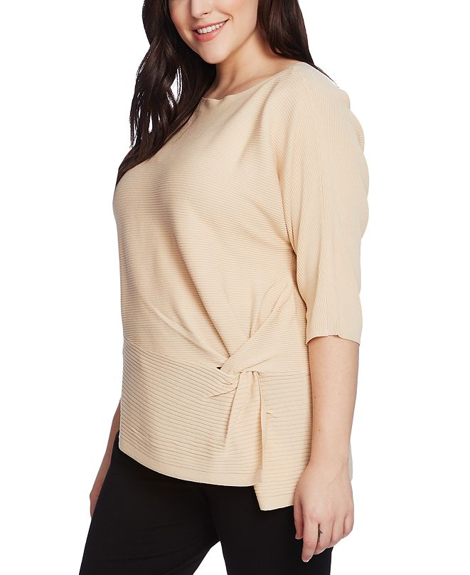 Vince Camuto Plus Size Side-Twist Ribbed Sweater