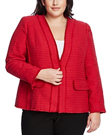 Plus Size Cotton Tweed Kiss-Front Jacket