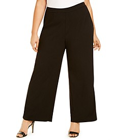 Plus Size Tuxedo-Stripe Dress Pants