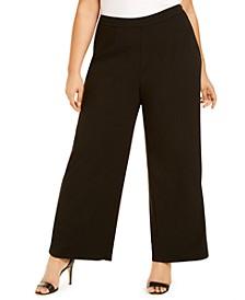 Plus Size Tuxedo-Stripe Dress Pants