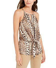 INC Snake-Print Tie-Front Halter Top, Created for Macy's