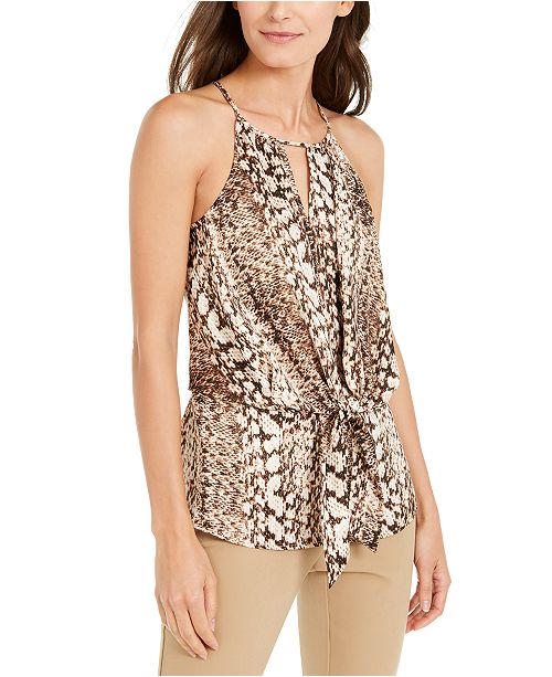 INC International Concepts INC Snake-Print Tie-Front Halter Top, Created for Macy's