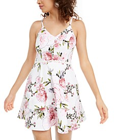 Juniors' Printed Fit & Flare Dress, Created for Macy's