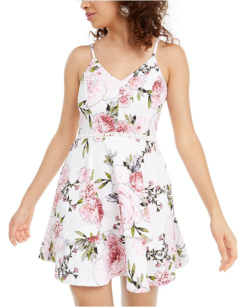 Speechless Juniors' Printed Fit & Flare Dress, Created for Macy's