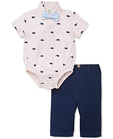 Baby Boys 3-Pc. Cotton Whales Bodysuit, Pants & Bow Tie Set