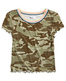 Big Girls Camo Lettuce-Edge T-Shirt, Created for Macy's