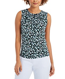 Petite Floral-Print Pleat-Neck Top