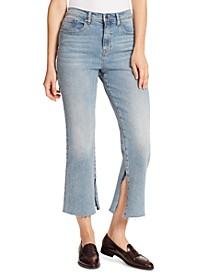 Slit-Hem Cropped Jeans