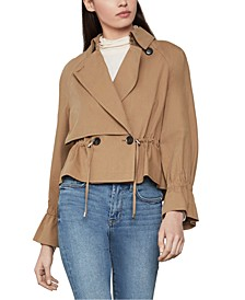 Cropped Drawstring Trench Coat