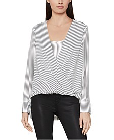 Striped Surplice High-Low Top