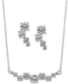 Silver-Tone Crystal Contour Statement Necklace & Drop Earrings Set