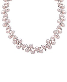 "Silver-Tone Pavé & Imitation Pearl Bauble Collar Necklace, 16"" + 3"" extender"